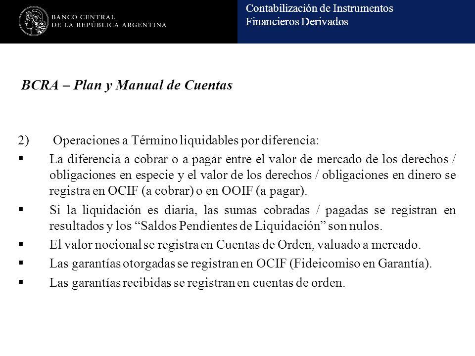 Contabilización de Instrumentos Financieros Derivados BCRA – Plan y Manual de Cuentas 2) Operaciones a Término liquidables por diferencia: La diferenc