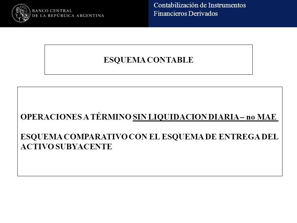 Contabilización de Instrumentos Financieros Derivados ESQUEMA CONTABLE OPERACIONES A TÉRMINO SIN LIQUIDACION DIARIA – no MAE ESQUEMA COMPARATIVO CON E