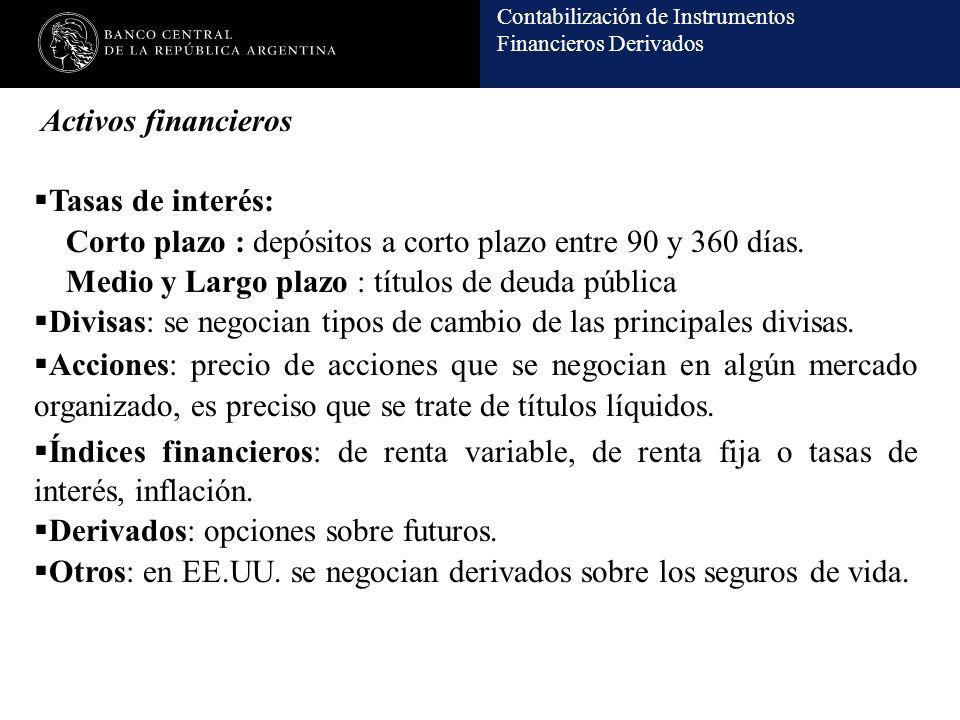 Contabilización de Instrumentos Financieros Derivados Activos financieros Tasas de interés: Corto plazo : depósitos a corto plazo entre 90 y 360 días.