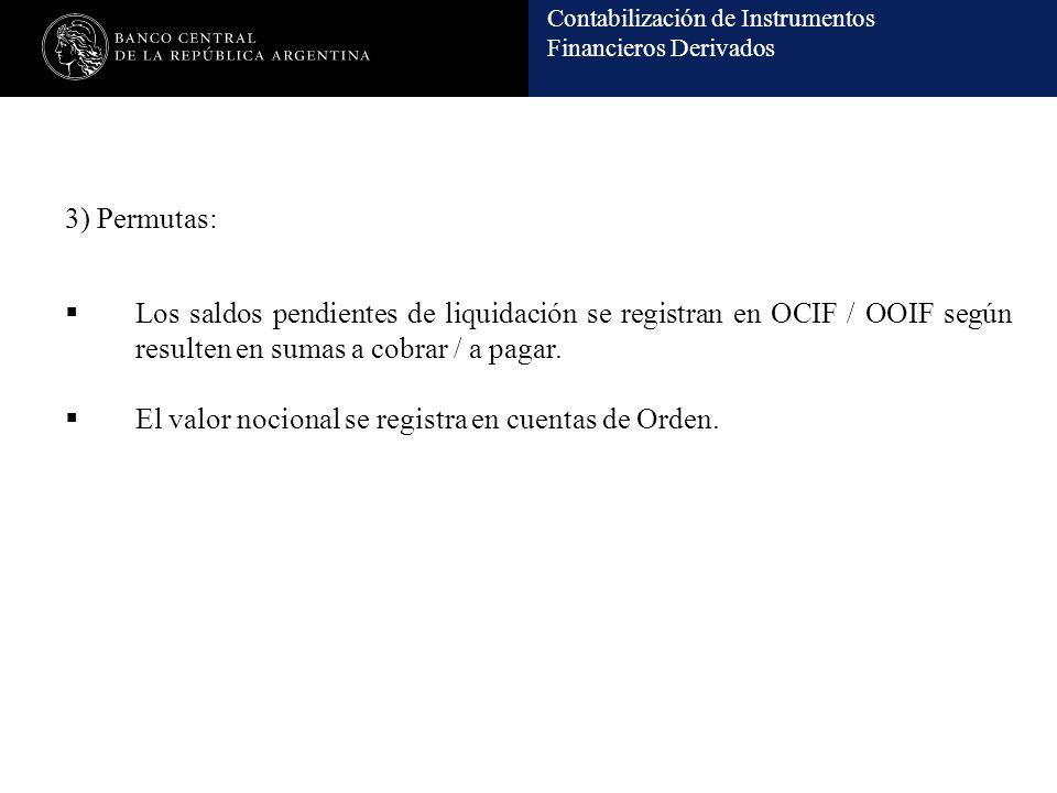 Contabilización de Instrumentos Financieros Derivados 3) Permutas: Los saldos pendientes de liquidación se registran en OCIF / OOIF según resulten en sumas a cobrar / a pagar.