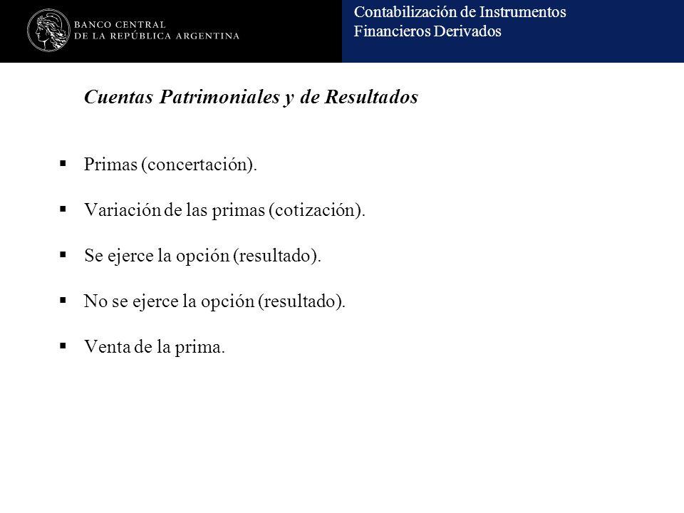 Contabilización de Instrumentos Financieros Derivados Cuentas Patrimoniales y de Resultados Primas (concertación). Variación de las primas (cotización