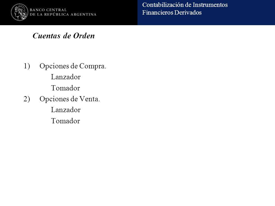 Contabilización de Instrumentos Financieros Derivados Cuentas de Orden 1)Opciones de Compra. Lanzador Tomador 2)Opciones de Venta. Lanzador Tomador