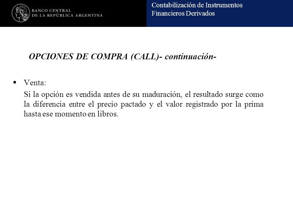 Contabilización de Instrumentos Financieros Derivados OPCIONES DE COMPRA (CALL)- continuación- Venta: Si la opción es vendida antes de su maduración,