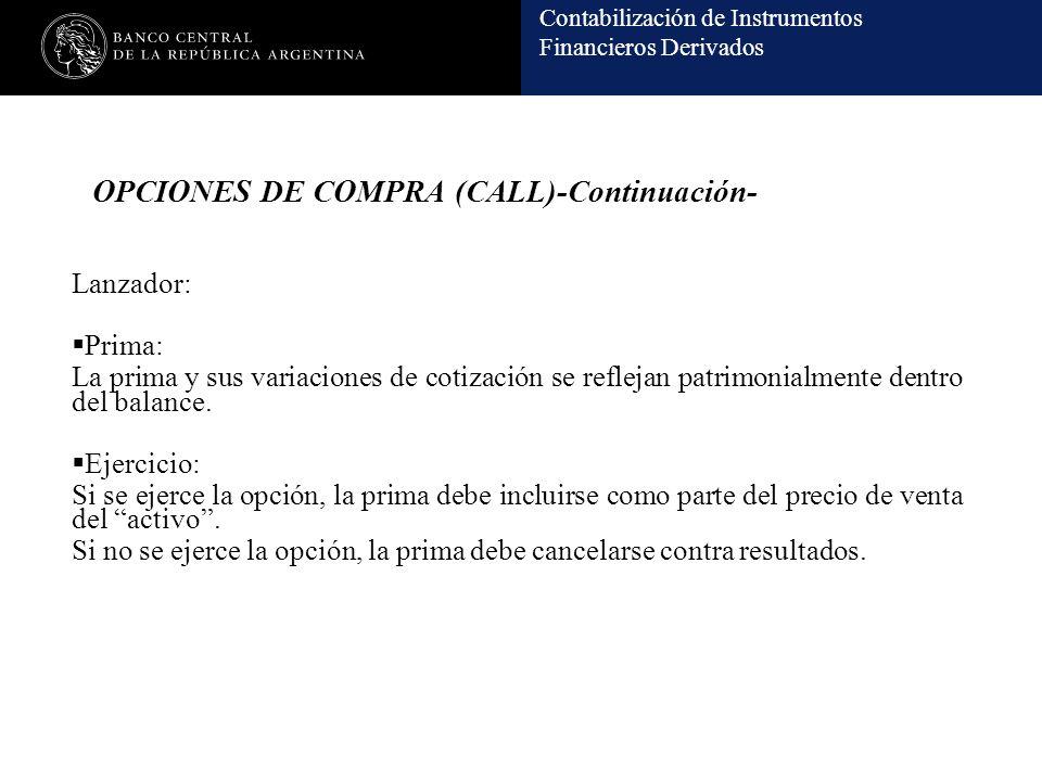 Contabilización de Instrumentos Financieros Derivados OPCIONES DE COMPRA (CALL)-Continuación- Lanzador: Prima: La prima y sus variaciones de cotización se reflejan patrimonialmente dentro del balance.