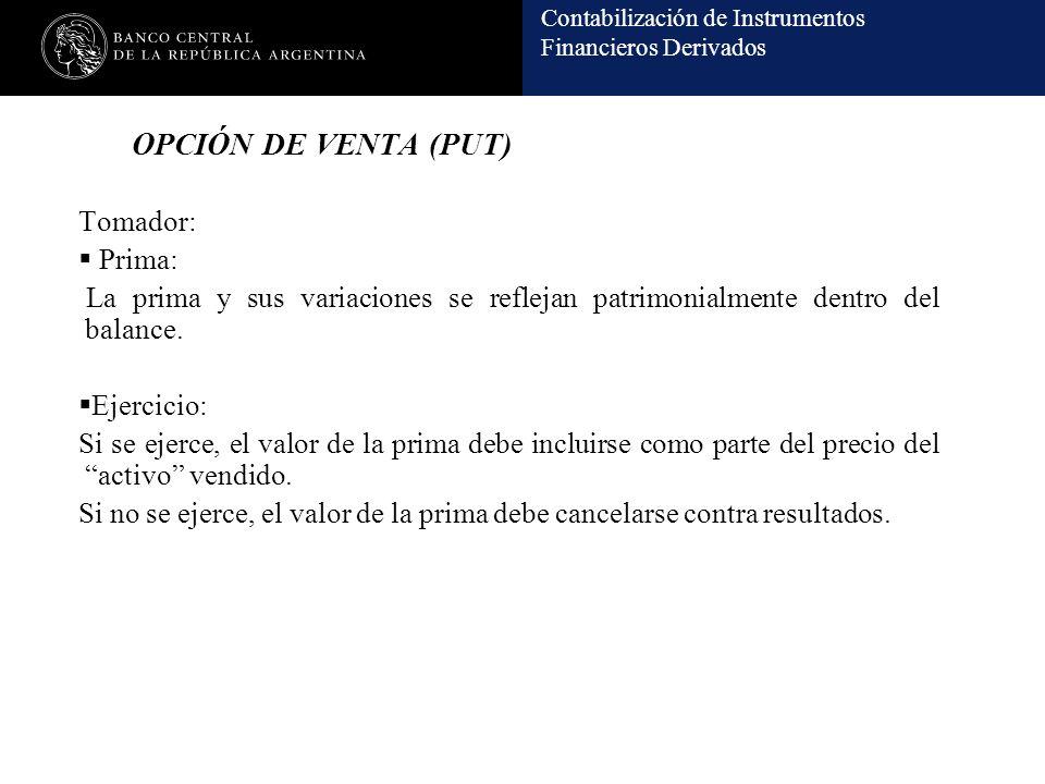 Contabilización de Instrumentos Financieros Derivados OPCIÓN DE VENTA (PUT) Tomador: Prima: La prima y sus variaciones se reflejan patrimonialmente de