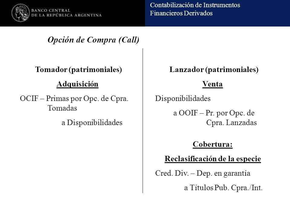 Contabilización de Instrumentos Financieros Derivados Adquisición OCIF – Primas por Opc. de Cpra. Tomadas a Disponibilidades Tomador (patrimoniales)La