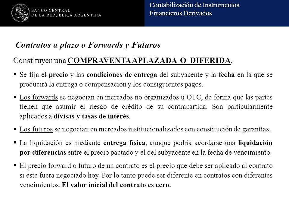 Contabilización de Instrumentos Financieros Derivados Contratos a plazo o Forwards y Futuros Constituyen una COMPRAVENTA APLAZADA O DIFERIDA. Se fija