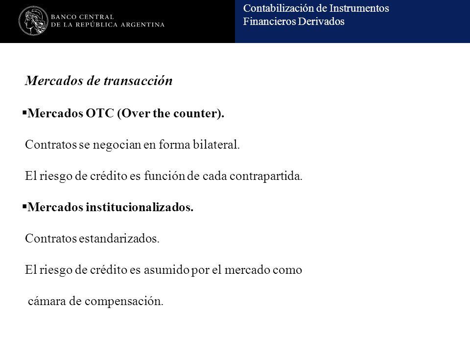 Contabilización de Instrumentos Financieros Derivados Mercados de transacción Mercados OTC (Over the counter). Contratos se negocian en forma bilatera