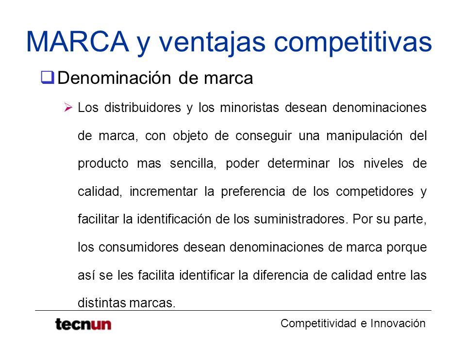 Competitividad e Innovación MARCA y ventajas competitivas Denominación de marca Los distribuidores y los minoristas desean denominaciones de marca, co