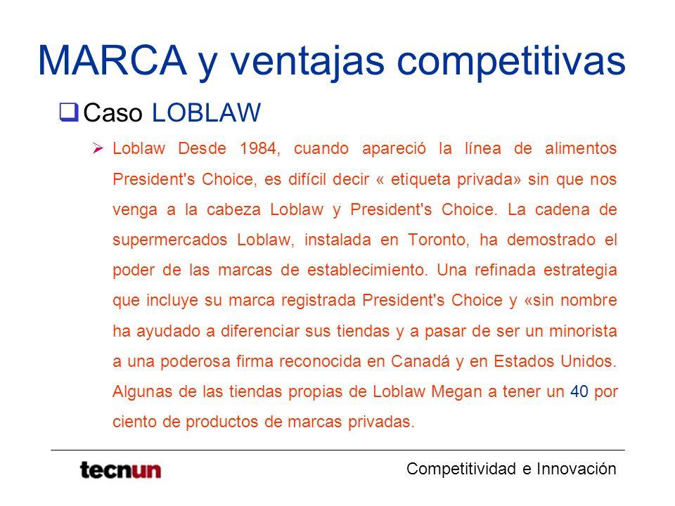 Competitividad e Innovación MARCA y ventajas competitivas Caso LOBLAW Loblaw Desde 1984, cuando apareció la línea de alimentos President's Choice, es