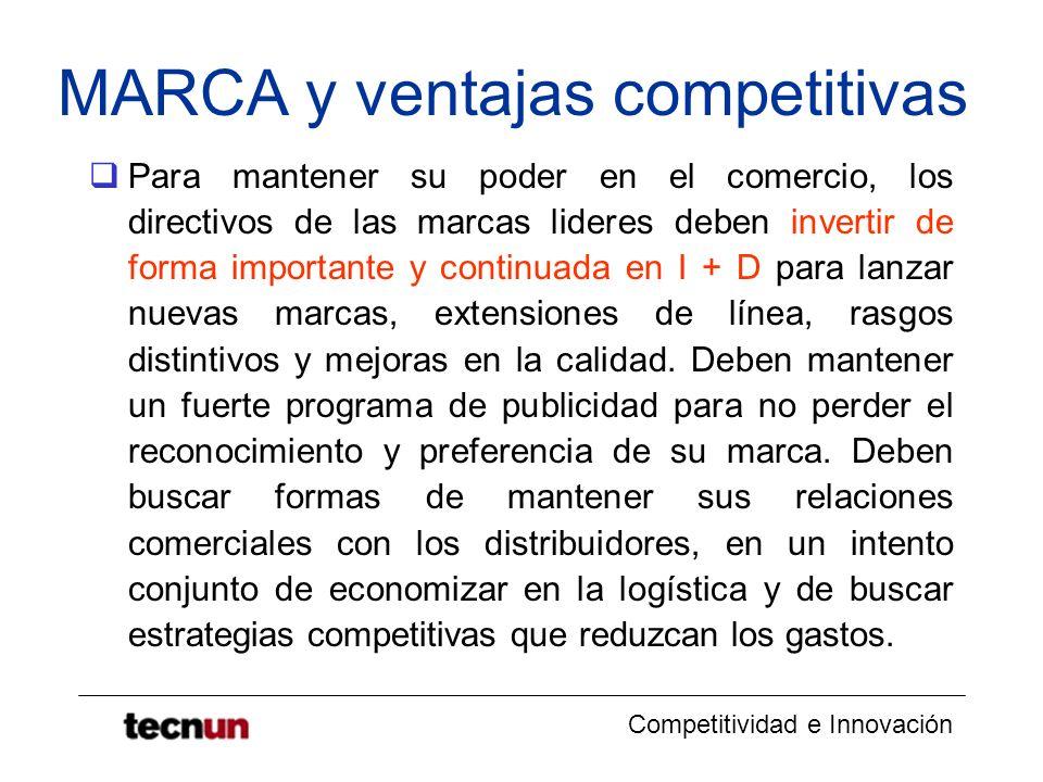 Competitividad e Innovación MARCA y ventajas competitivas Para mantener su poder en el comercio, los directivos de las marcas lideres deben invertir d