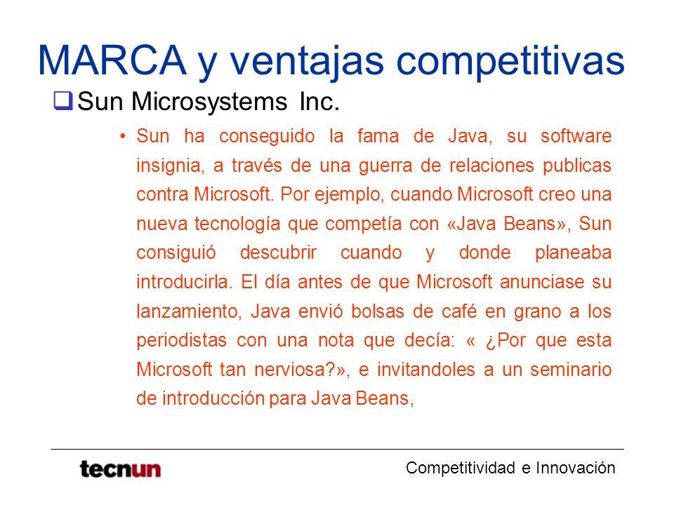 Competitividad e Innovación MARCA y ventajas competitivas Sun Microsystems Inc. Sun ha conseguido la fama de Java, su software insignia, a través de u