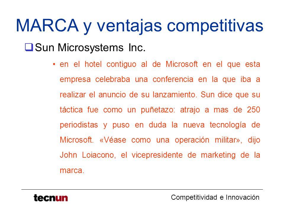 Competitividad e Innovación MARCA y ventajas competitivas Sun Microsystems Inc. en el hotel contiguo al de Microsoft en el que esta empresa celebraba