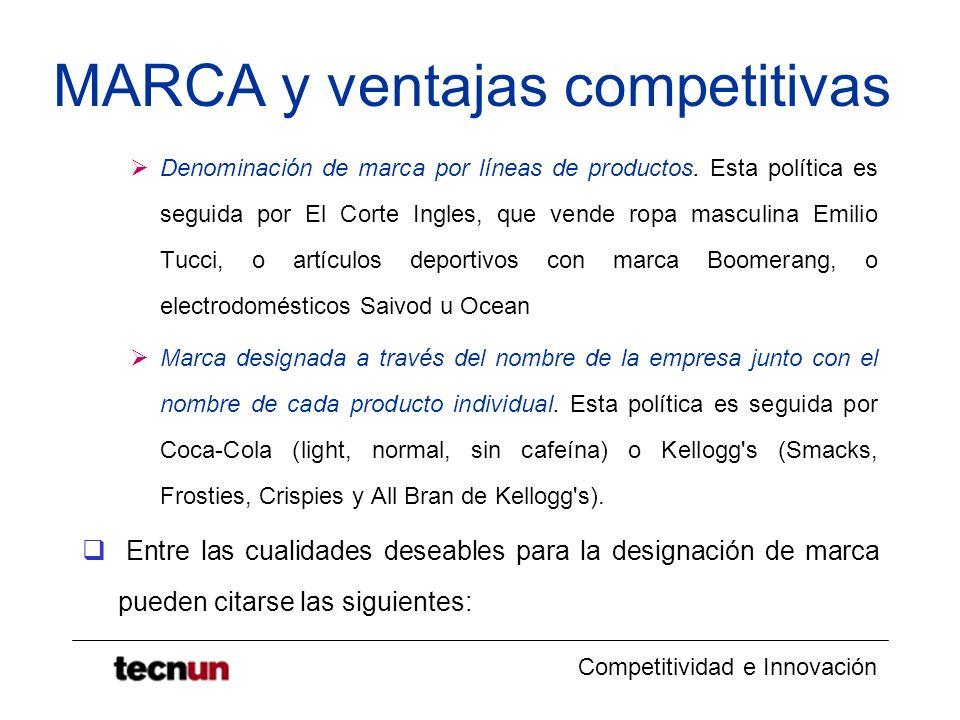 Competitividad e Innovación MARCA y ventajas competitivas Denominación de marca por líneas de productos. Esta política es seguida por El Corte Ingles,