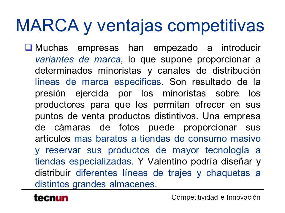 Competitividad e Innovación MARCA y ventajas competitivas Muchas empresas han empezado a introducir variantes de marca, lo que supone proporcionar a d
