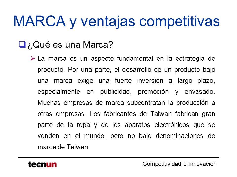 Competitividad e Innovación MARCA y ventajas competitivas ¿Qué es una Marca? La marca es un aspecto fundamental en la estrategia de producto. Por una