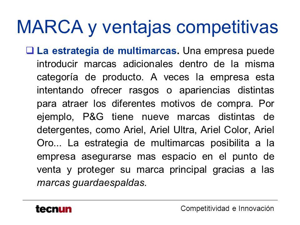 Competitividad e Innovación MARCA y ventajas competitivas La estrategia de multimarcas. Una empresa puede introducir marcas adicionales dentro de la m
