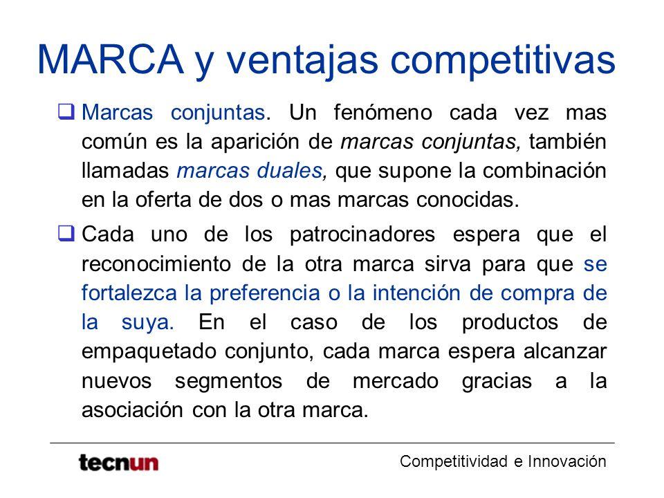 Competitividad e Innovación MARCA y ventajas competitivas Marcas conjuntas. Un fenómeno cada vez mas común es la aparición de marcas conjuntas, tambié