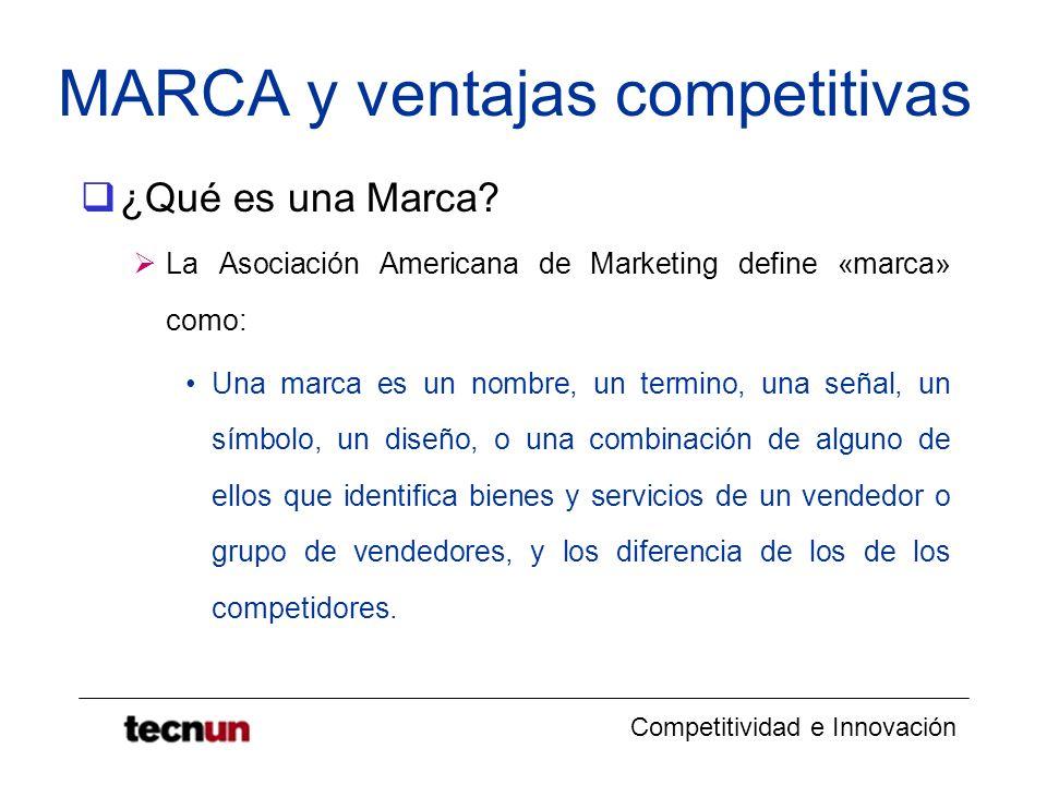 Competitividad e Innovación MARCA y ventajas competitivas ¿Qué es una Marca? La Asociación Americana de Marketing define «marca» como: Una marca es un