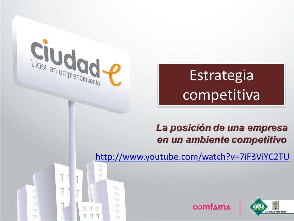 Estrategia competitiva La posición de una empresa en un ambiente competitivo http://www.youtube.com/watch?v=7iF3ViYC2TU