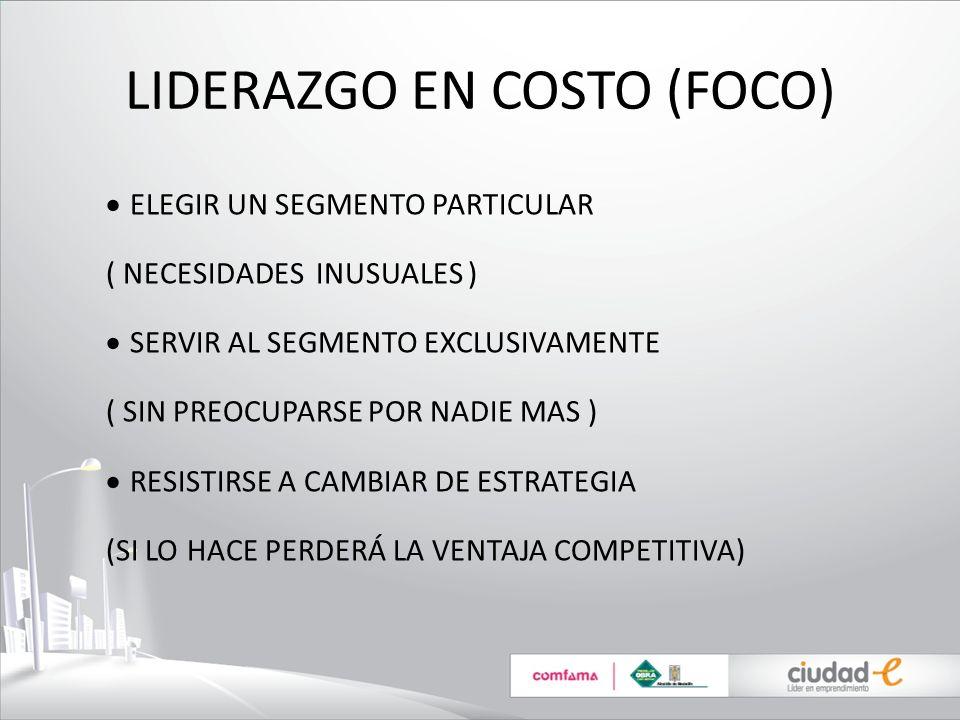LIDERAZGO EN COSTO (FOCO) ELEGIR UN SEGMENTO PARTICULAR ( NECESIDADES INUSUALES ) SERVIR AL SEGMENTO EXCLUSIVAMENTE ( SIN PREOCUPARSE POR NADIE MAS )