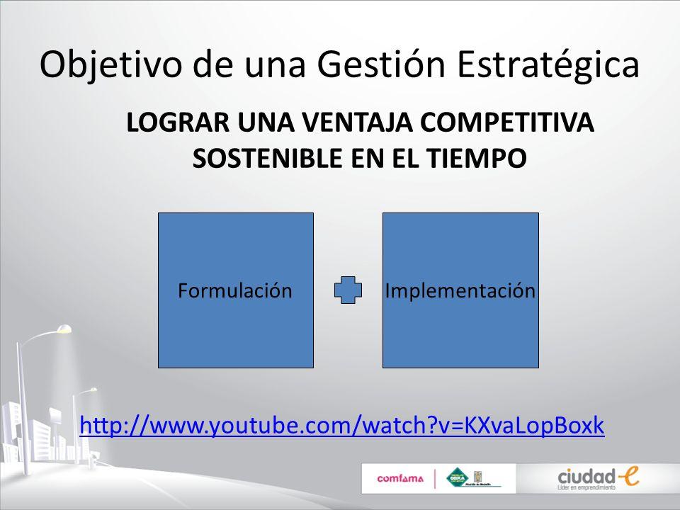 Objetivo de una Gestión Estratégica LOGRAR UNA VENTAJA COMPETITIVA SOSTENIBLE EN EL TIEMPO ImplementaciónFormulación http://www.youtube.com/watch?v=KX