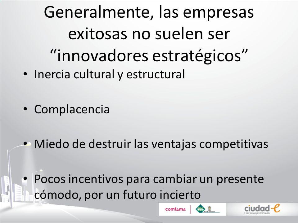 Generalmente, las empresas exitosas no suelen ser innovadores estratégicos Inercia cultural y estructural Complacencia Miedo de destruir las ventajas