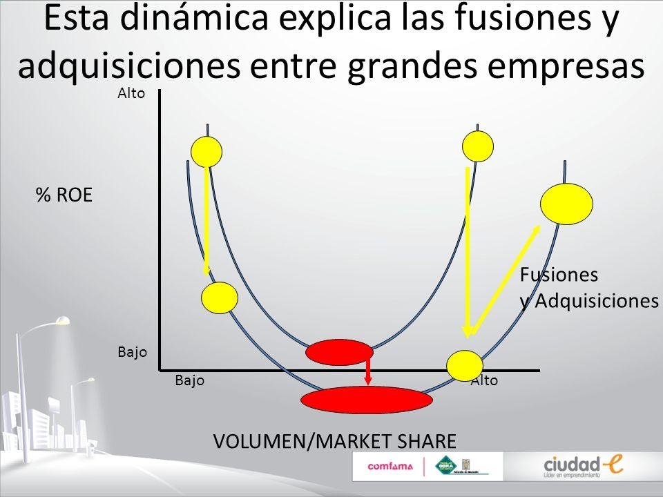 Esta dinámica explica las fusiones y adquisiciones entre grandes empresas % ROE VOLUMEN/MARKET SHARE Bajo Alto Alto Bajo Fusiones y Adquisiciones