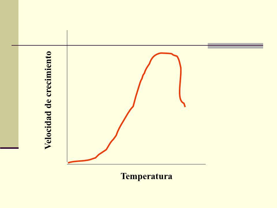 Temperatura Velocidad de crecimiento