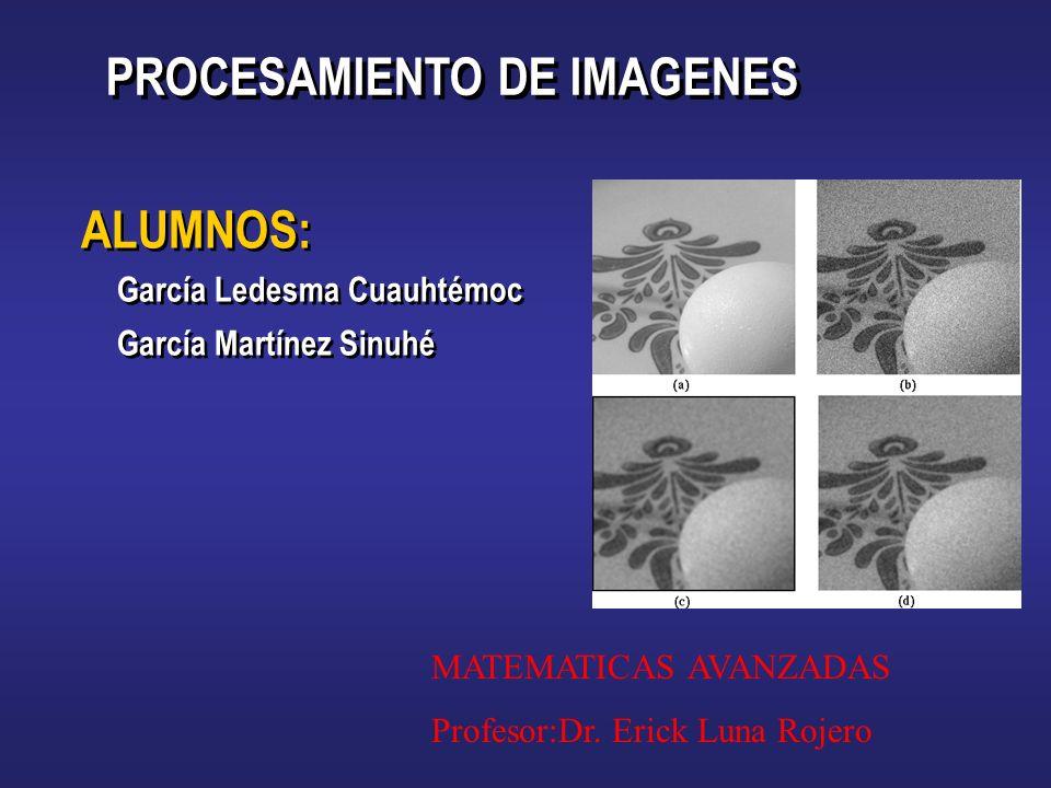 ALUMNOS: García Ledesma Cuauhtémoc García Martínez Sinuhé ALUMNOS: García Ledesma Cuauhtémoc García Martínez Sinuhé PROCESAMIENTO DE IMAGENES MATEMATICAS AVANZADAS Profesor:Dr.