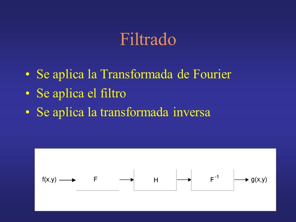 Filtrado Se aplica la Transformada de Fourier Se aplica el filtro Se aplica la transformada inversa