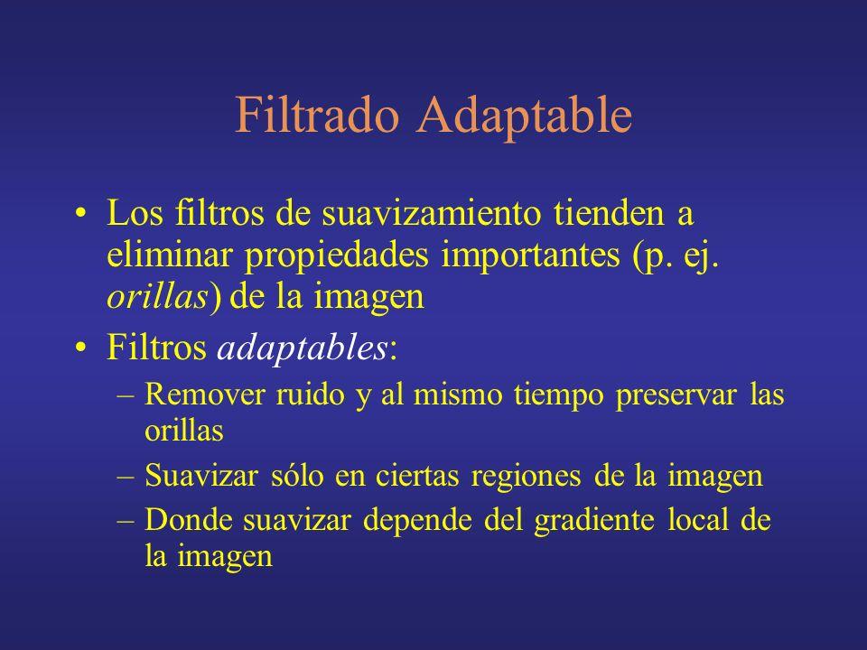 Filtrado Adaptable Los filtros de suavizamiento tienden a eliminar propiedades importantes (p. ej. orillas) de la imagen Filtros adaptables: –Remover
