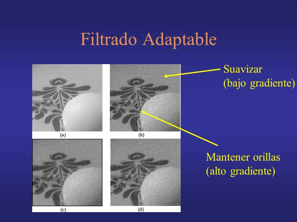 Filtrado Adaptable Suavizar (bajo gradiente) Mantener orillas (alto gradiente)
