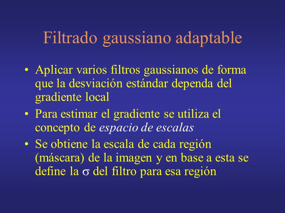 Aplicar varios filtros gaussianos de forma que la desviación estándar dependa del gradiente local Para estimar el gradiente se utiliza el concepto de