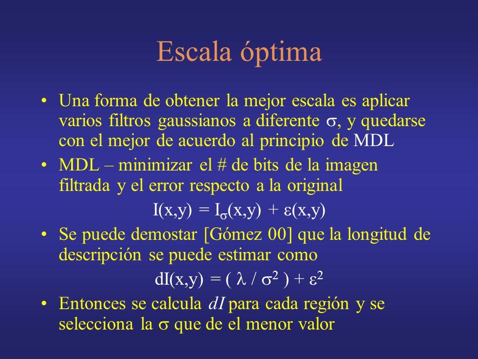 Escala óptima Una forma de obtener la mejor escala es aplicar varios filtros gaussianos a diferente, y quedarse con el mejor de acuerdo al principio de MDL MDL – minimizar el # de bits de la imagen filtrada y el error respecto a la original I(x,y) = I (x,y) + (x,y) Se puede demostar [Gómez 00] que la longitud de descripción se puede estimar como dI(x,y) = ( / 2 ) + 2 Entonces se calcula dI para cada región y se selecciona la que de el menor valor