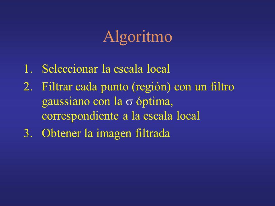 Algoritmo 1.Seleccionar la escala local 2.Filtrar cada punto (región) con un filtro gaussiano con la óptima, correspondiente a la escala local 3.Obtener la imagen filtrada