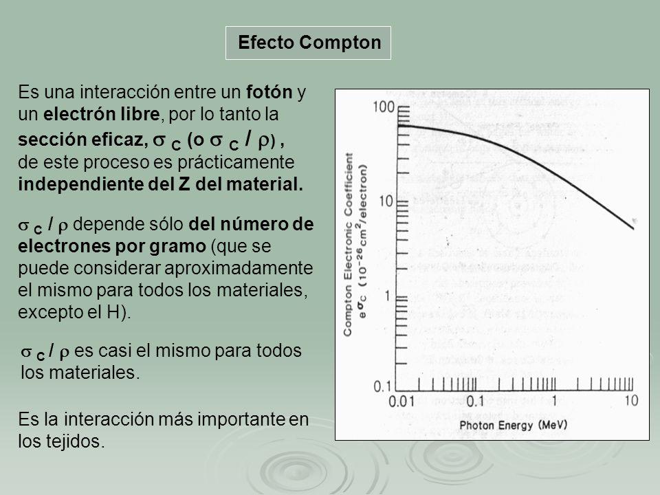 Efecto Compton Es la interacción más importante en los tejidos. Es una interacción entre un fotón y un electrón libre, por lo tanto la sección eficaz,