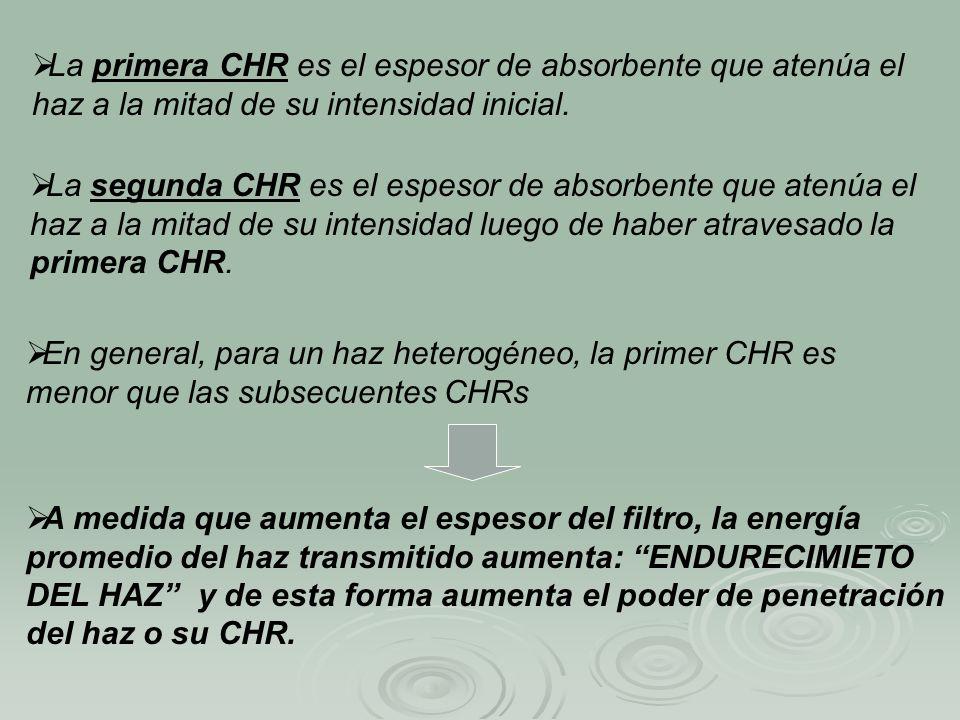 La primera CHR es el espesor de absorbente que atenúa el haz a la mitad de su intensidad inicial. La segunda CHR es el espesor de absorbente que atenú