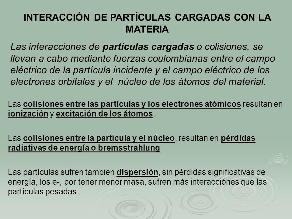 INTERACCIÓN DE PARTÍCULAS CARGADAS CON LA MATERIA Las interacciones de partículas cargadas o colisiones, se llevan a cabo mediante fuerzas coulombiana