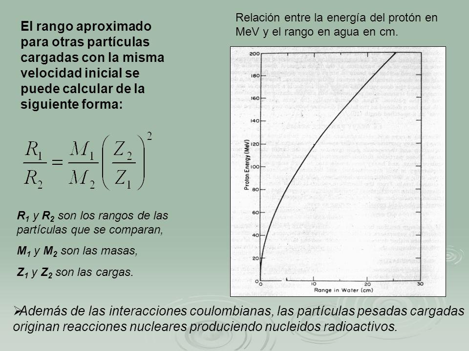 El rango aproximado para otras partículas cargadas con la misma velocidad inicial se puede calcular de la siguiente forma: Relación entre la energía d