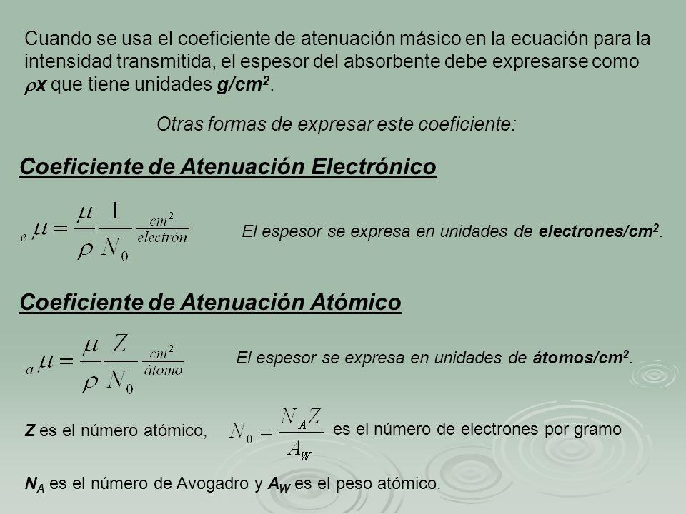 Cuando se usa el coeficiente de atenuación másico en la ecuación para la intensidad transmitida, el espesor del absorbente debe expresarse como x que