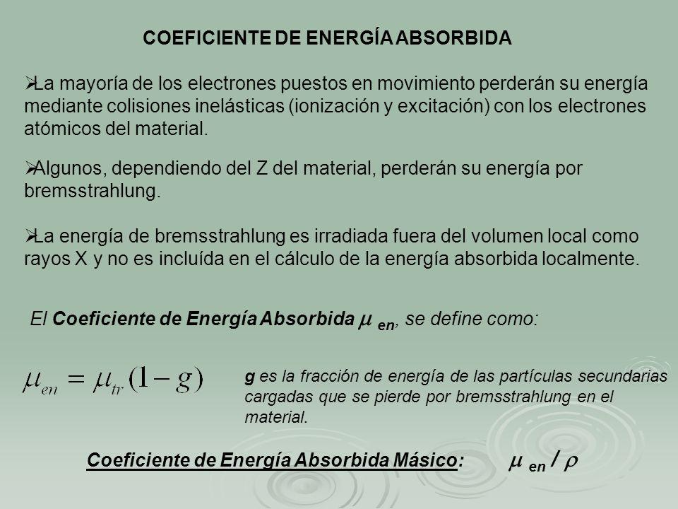 COEFICIENTE DE ENERGÍA ABSORBIDA La mayoría de los electrones puestos en movimiento perderán su energía mediante colisiones inelásticas (ionización y