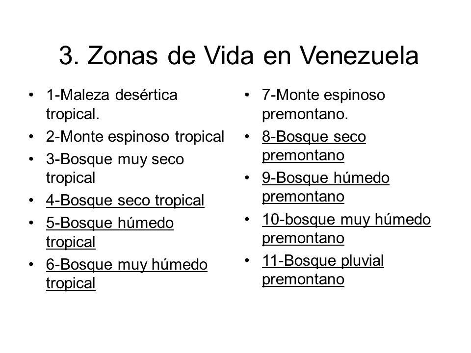 3. Zonas de Vida en Venezuela 1-Maleza desértica tropical. 2-Monte espinoso tropical 3-Bosque muy seco tropical 4-Bosque seco tropical 5-Bosque húmedo