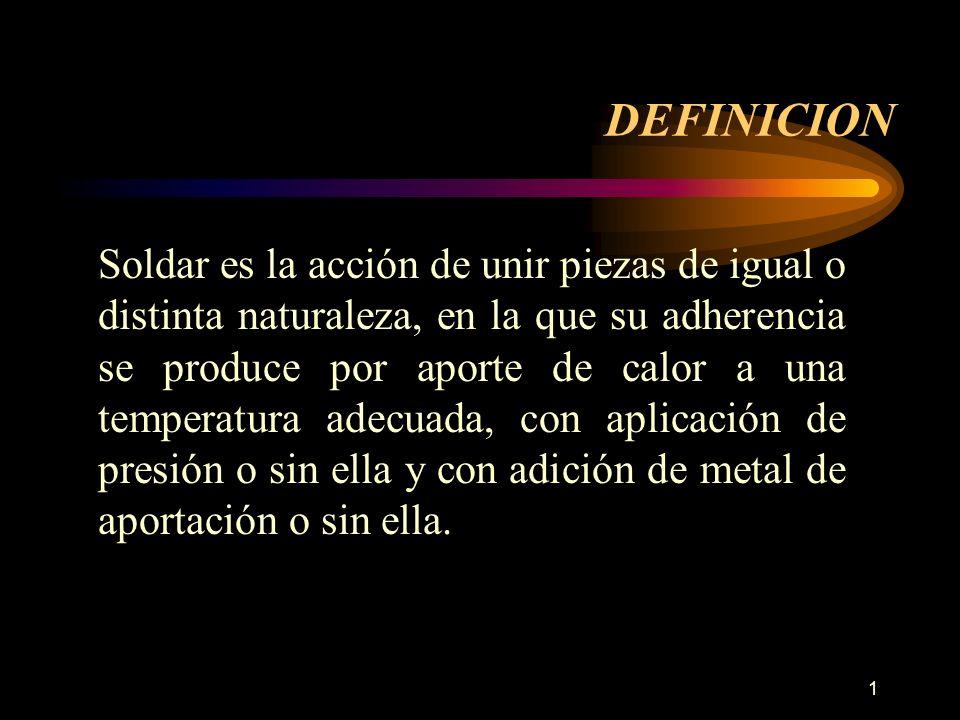 1 DEFINICION Soldar es la acción de unir piezas de igual o distinta naturaleza, en la que su adherencia se produce por aporte de calor a una temperatu