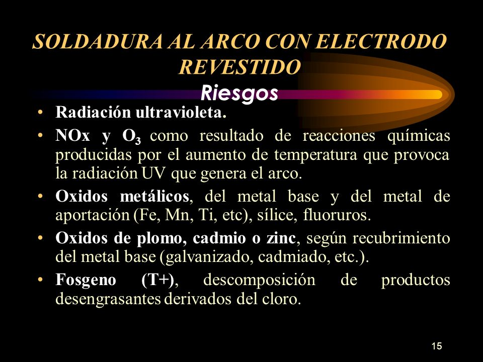 15 Radiación ultravioleta. NOx y O 3 como resultado de reacciones químicas producidas por el aumento de temperatura que provoca la radiación UV que ge