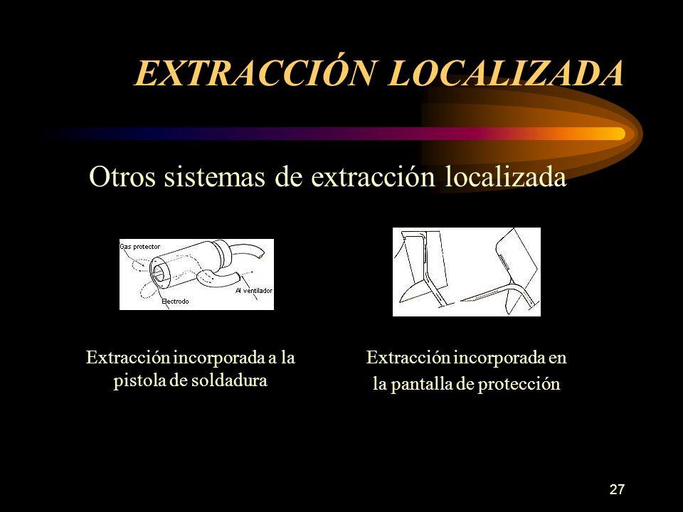 27 Otros sistemas de extracción localizada EXTRACCIÓN LOCALIZADA Extracción incorporada a la pistola de soldadura Extracción incorporada en la pantalla de protección