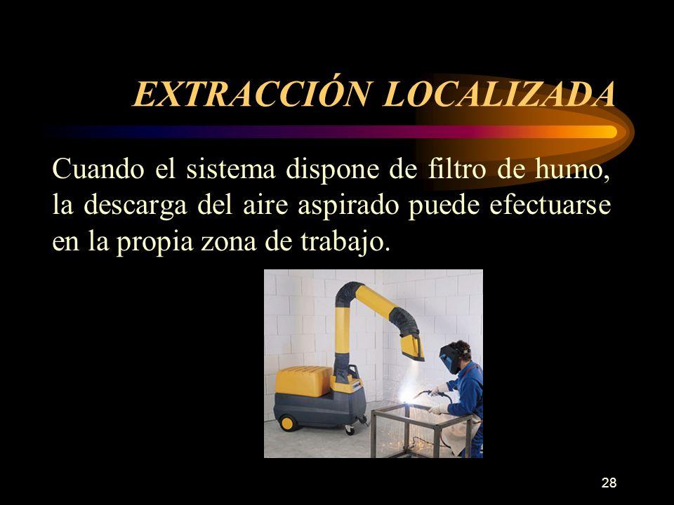 28 EXTRACCIÓN LOCALIZADA Cuando el sistema dispone de filtro de humo, la descarga del aire aspirado puede efectuarse en la propia zona de trabajo.