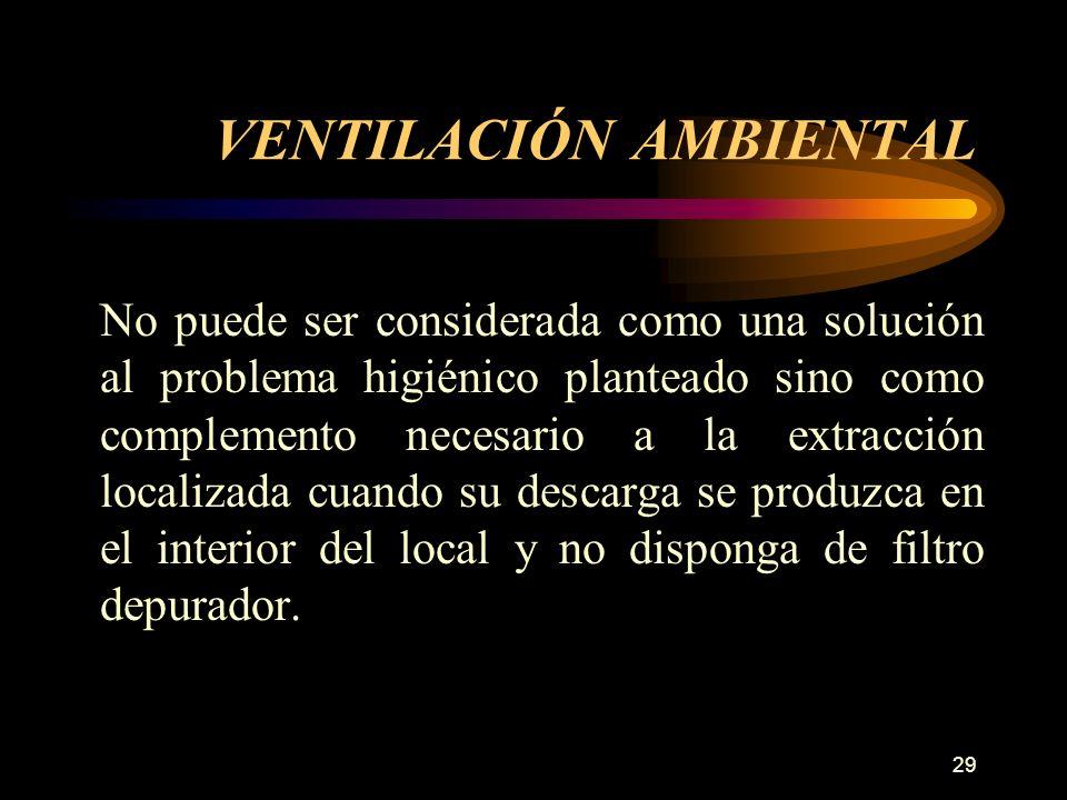 29 VENTILACIÓN AMBIENTAL No puede ser considerada como una solución al problema higiénico planteado sino como complemento necesario a la extracción localizada cuando su descarga se produzca en el interior del local y no disponga de filtro depurador.
