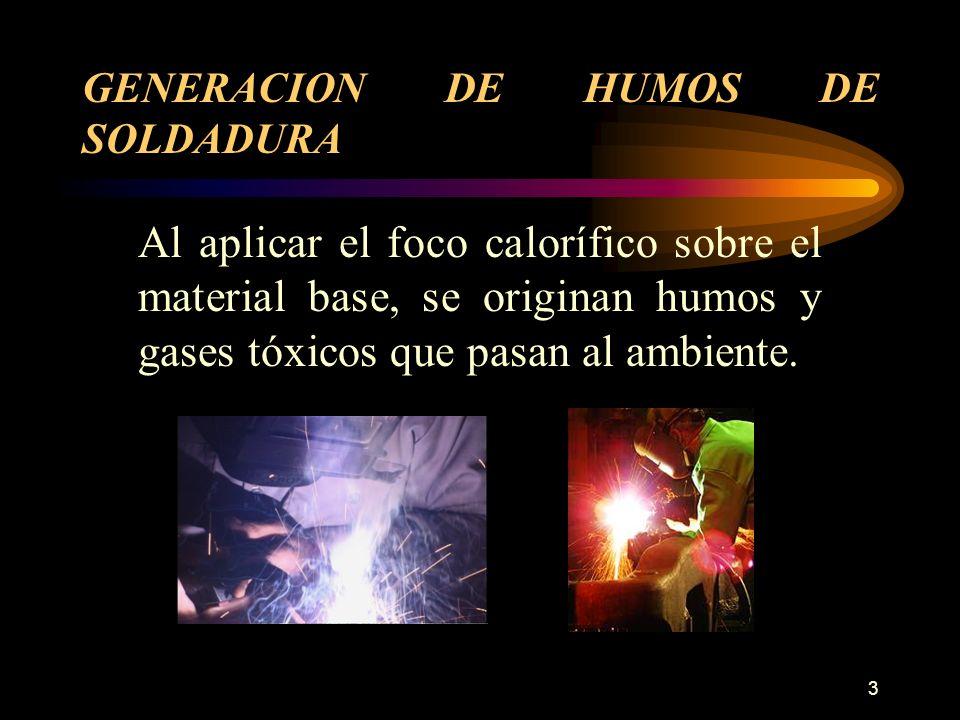 3 GENERACION DE HUMOS DE SOLDADURA Al aplicar el foco calorífico sobre el material base, se originan humos y gases tóxicos que pasan al ambiente.