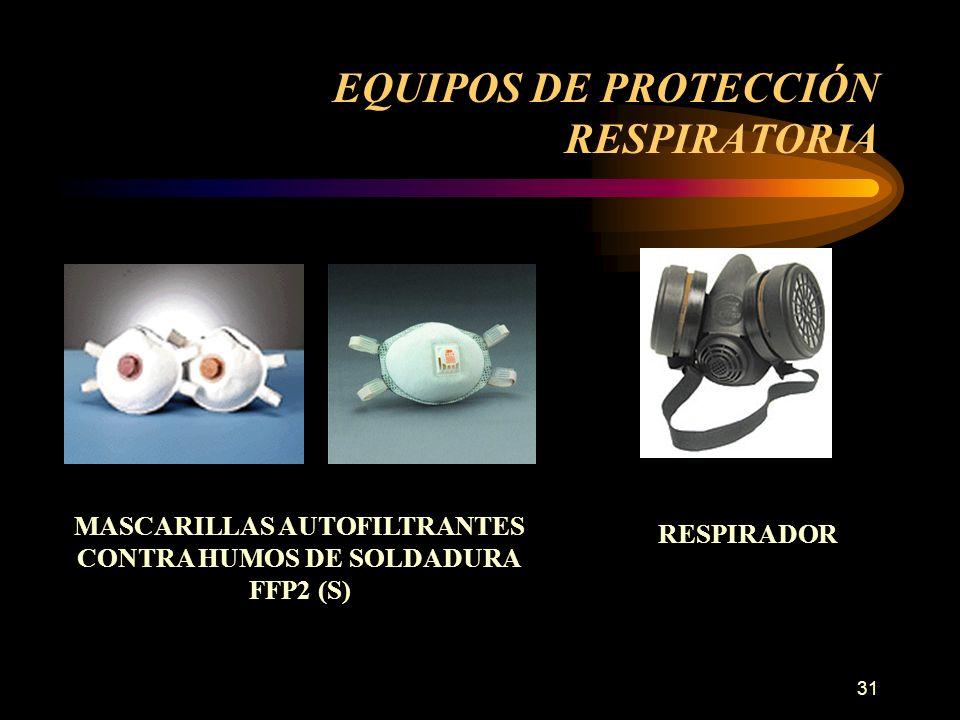 31 EQUIPOS DE PROTECCIÓN RESPIRATORIA MASCARILLAS AUTOFILTRANTES CONTRA HUMOS DE SOLDADURA FFP2 (S) RESPIRADOR